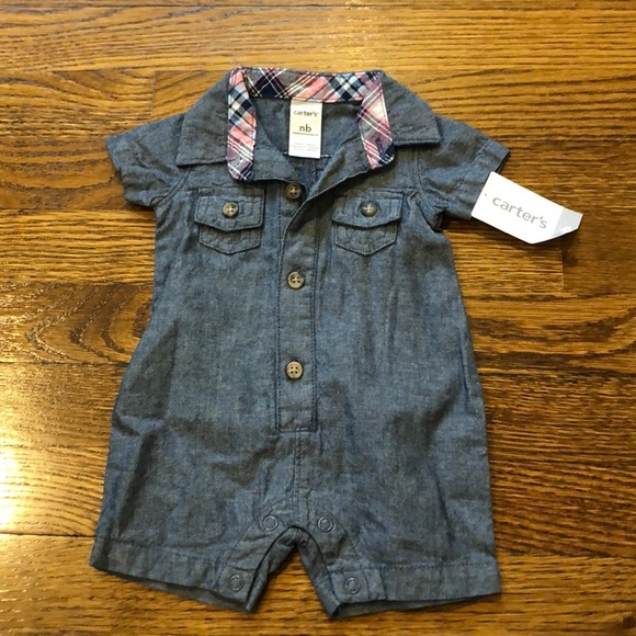 NWT Carter's chambray outfit; nb size